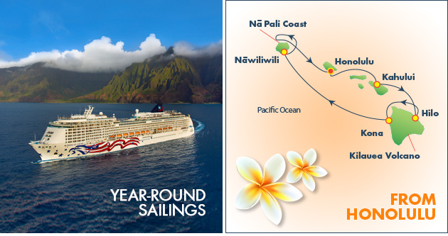 Pride of America Cruise Ship and map of Hawaii Islands showing sailing itinerary around the islands.