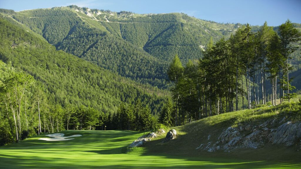 Golf Ahoy Danube River Golf Cruise Adamstal golf course Austria green fairway soaring mountain backdrop
