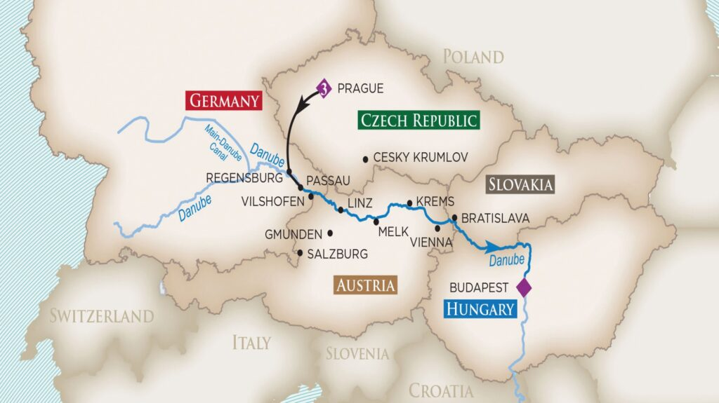 Golf Ahoy Danube River Golf Cruise riverboat sailing itinerary map