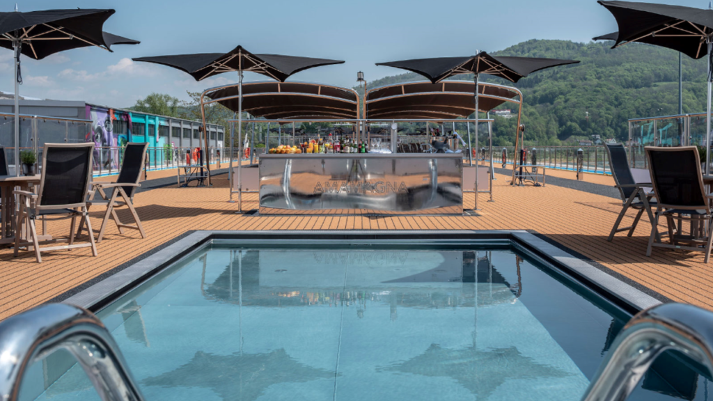 Golf Ahoy Danube River Golf Cruise AmaMagna swimming Pool Deck showing pool