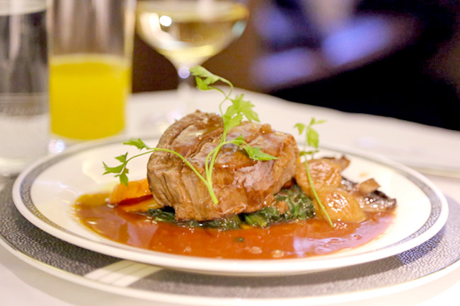 Golf Ahoy Danube River Golf Cruise AmaMagna meat filet dish on a white plate