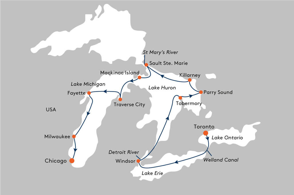 map showing golf cruise sailing itinerary on the great lakes canada and usa