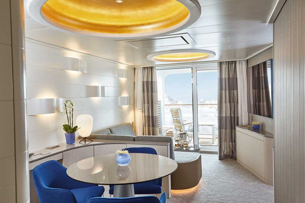 view of junior suite with balcony on cruise ship