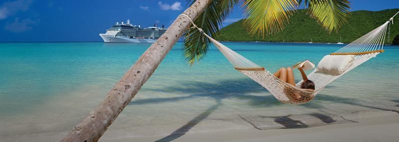 Caribbean golf cruise lady in a hammock on the beach reading a book