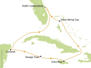Caribbean GOLF Cruise PRIMA caribbean sea map showing norwegian cruise line primo sailing itinerary