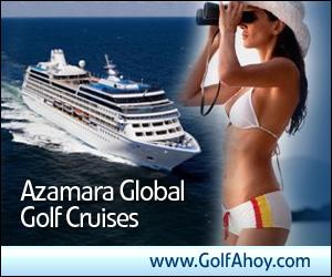 Azamara Global Golf Cruises GolfAhoy banner advertisement showing cruise ship and lady passenger holding binoculars to her face