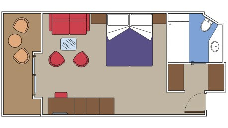 Overhead image of layout of MSC Yacht Club Suite