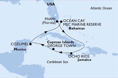 Map of Western Caribbean showing GolfAhoy golf cruise itinerary to Bahamas, Jamaica, Cayman Islands and Cozumel Mexico