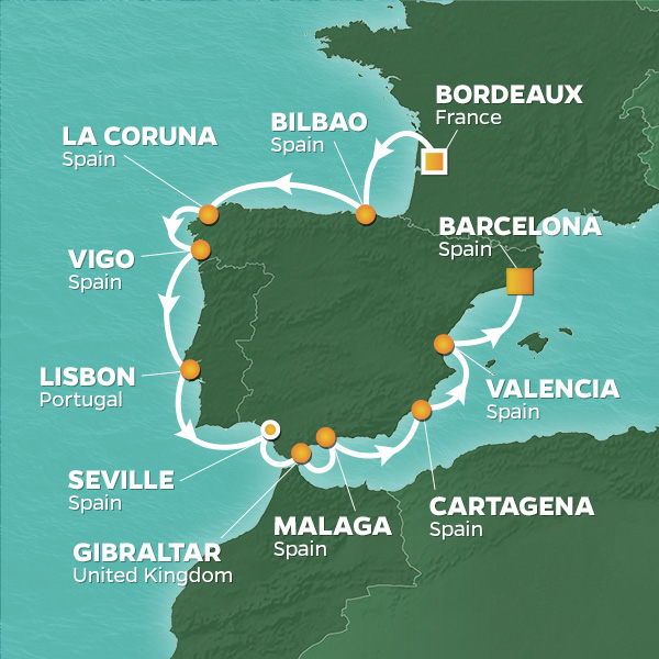 Map of Portugal, Spain And France showing golf cruise sailing itinerary for GolfAhoy golf cruise