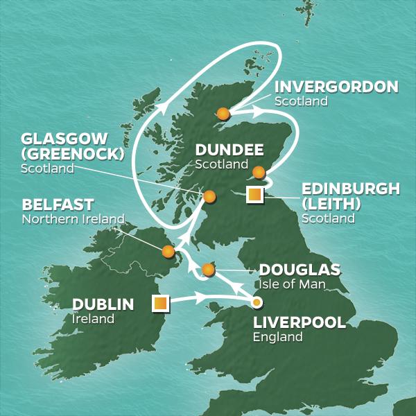 Map showing British Isles and Ireland golf cruise sailing itinerary