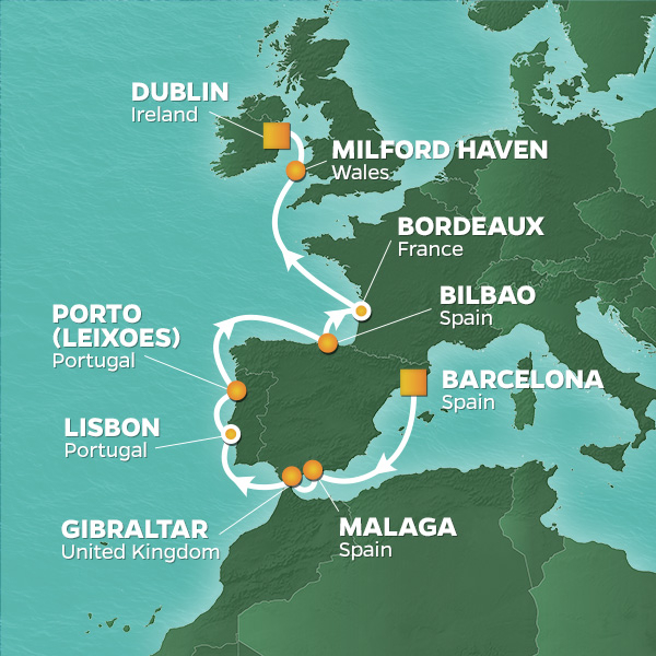 Image of map showing GolfAhoy Golf Cruise to Spain, Portugal, England and Ireland
