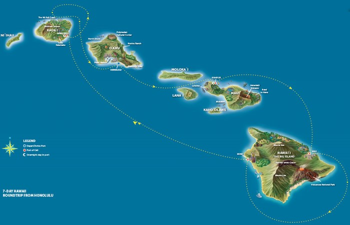 map showing Hawaii islands with blue background representing ocean